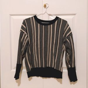 Zara black and gray striped top